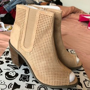 Taupe Perforated Heeled Booties